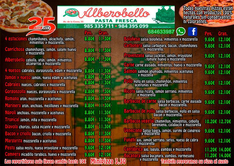 Carta de pizzas de pizzería alberobello. Una amplia oferta de pizzas para que todos nuestros clientes puedan probar las delicias que ofertamos.