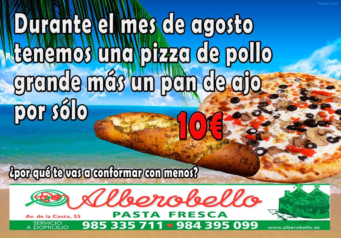 La promoción de agosto 2017 de la pizzería alberobello, consistente en una pizza grande de pollo más un pan de ajor por sólo 10€
