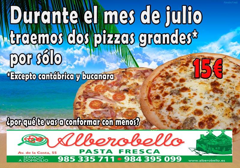 La oferta para julio 2017 de la pizzería alberobello consistente en dos pizzas grandes por sólo 15€