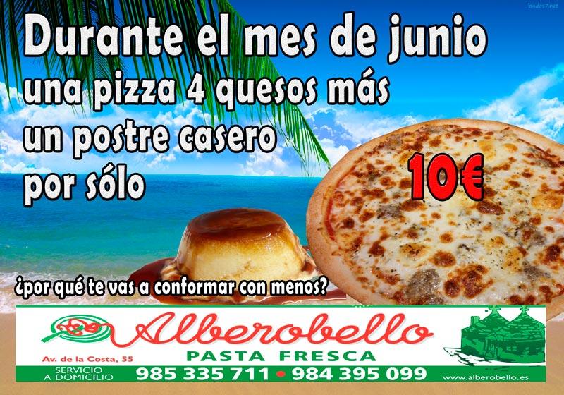 Oferta de junio de la pizzería alberobello consistente en una 4 quesos grande más un postre casero por sólo 10€