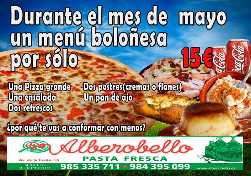 Promoción de alberobello para el mes de mayo de 2017 consistente en un menú boloñesa por solo 15€